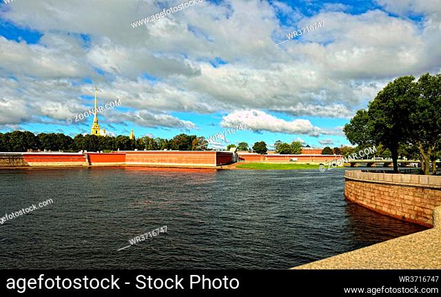View to the Fortness of St. Peter and Pavel from the river Neva in St-Petersburg, Russia