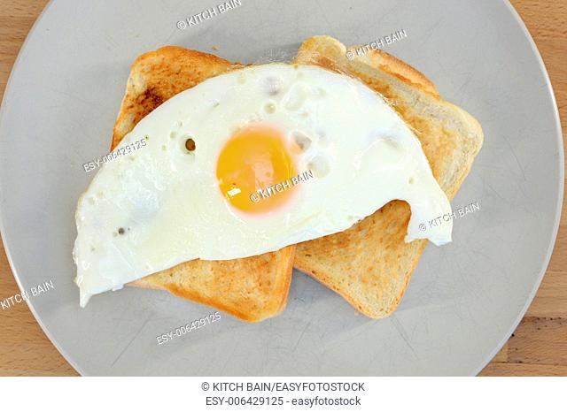 A close up shot of fried eggs