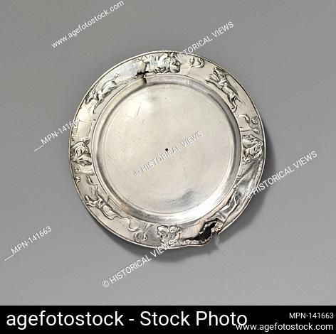 Silver plate. Period: Imperial; Date: 1st-2nd century A.D; Culture: Roman; Medium: Silver; Dimensions: H. 1/16 in. (0.1 cm); diameter 5 in. (12