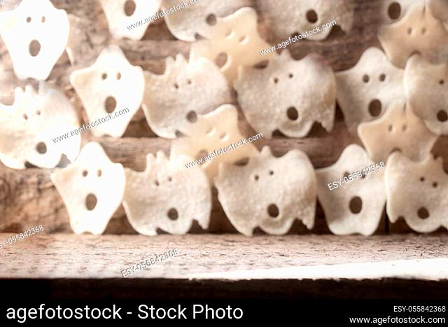 Group of various scary ghost, Halloween background modern wooden design, october horror style retro