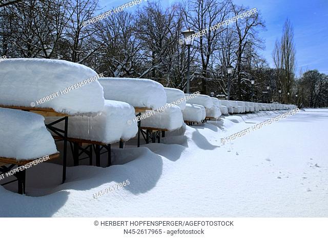 English Garden, Beer Garden in wintertime, district Schwabing, Munich, Germany