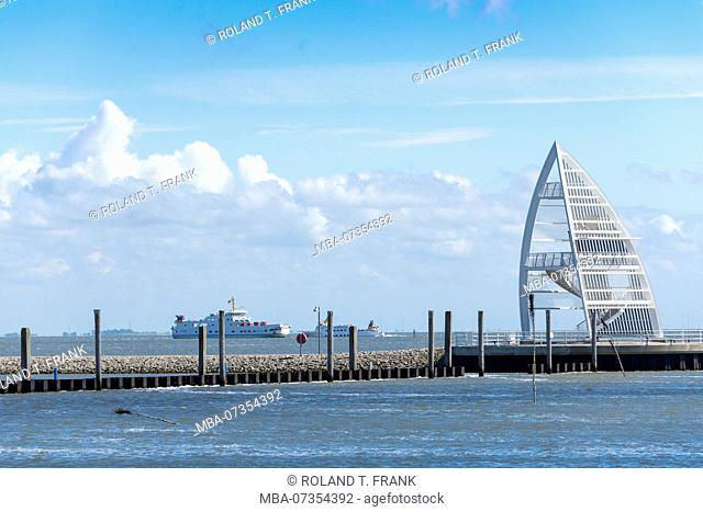 Germany, Lower Saxony, East Frisia, Juist, 17 meter high lookout tower at the harbor entrance
