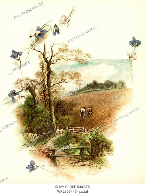 The caption for this illustration reads: For lo! The winter is past, the rain is over and gone. The scene shows a farmer with his horses ploughing his field