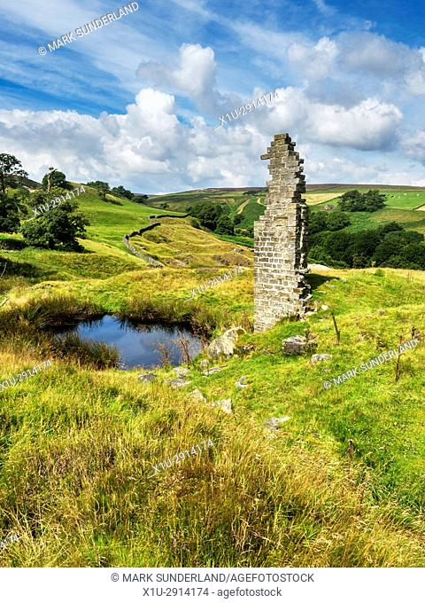 Providence Mine Shaft and Remains of the Engine House Greenhow Pateley Bridge Nidderdale AONB Yorkshire England