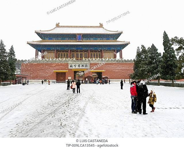 China, Beijing, the Northe entrance to the Forbidden City, in winter