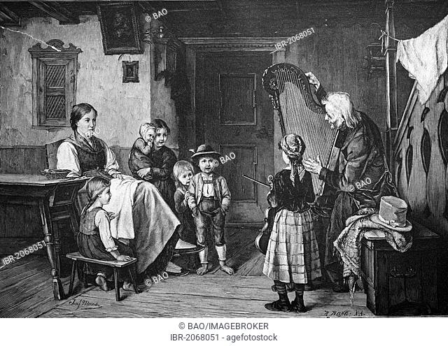 Historical engraving, house music with harp player, 1888
