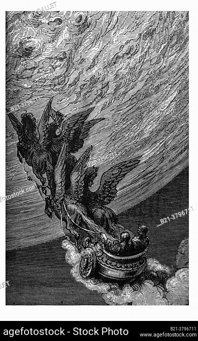Gustave Doré lito.: , Prince Astolphe with Saint John, on Elias horses carriage going tto the moon