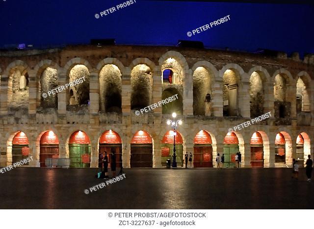 Roman amphitheater Arena di Verona in the center of Verona the evening - Italy