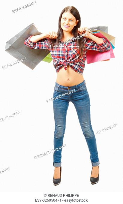 a pretty young woman went shopping on white background