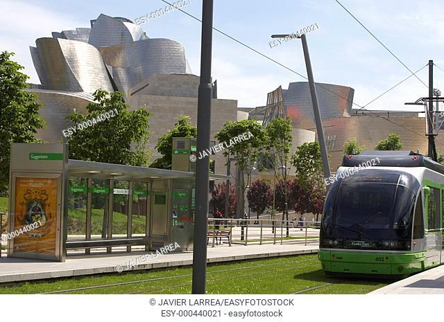 Tram stop. Guggenheim Museum. Bilbao. Bizkaia. Euskadi. Spain