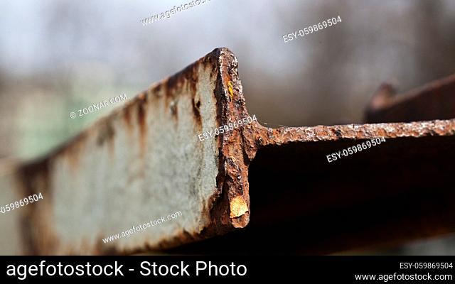 Detailfoto eines verrosteten Stahlträger, Berlin, Deutschland