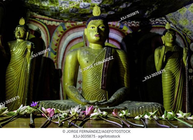 Statues of Budha at Dambulla caves temple. Sri Lanka