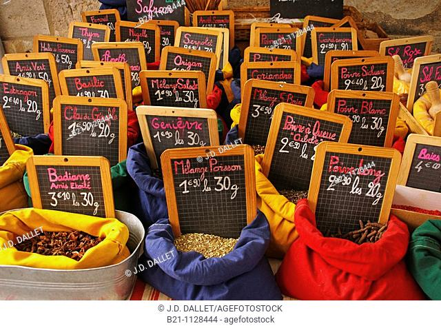 Spices on the weekly open air market, Creon, Gironde, Aquitaine, France