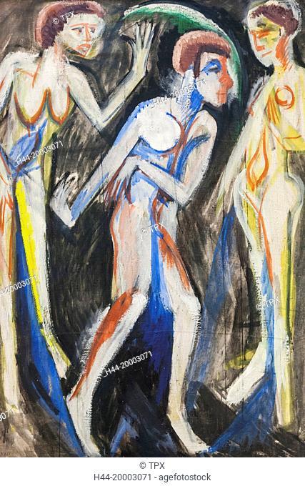 Germany, Bavaria, Munich, The Pinakothek Museum of Modern Art (Pinakothek der Moderne), Painting titled Der Tanz zwischen den Frauen by Ernst Ludwig Kirchner...