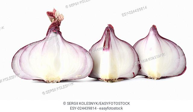 Sliced red onions isolated on a white background