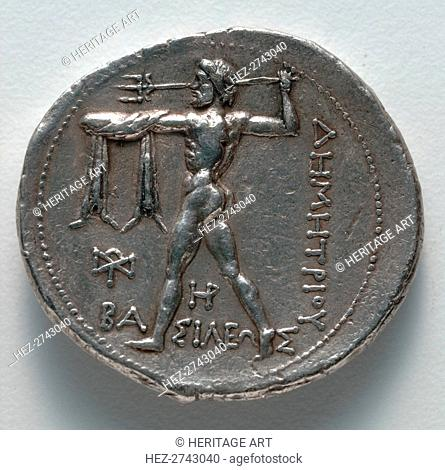 Tetradrachm: Poseidon hurling a trident (reverse), c. 300-295 BC. Creator: Unknown