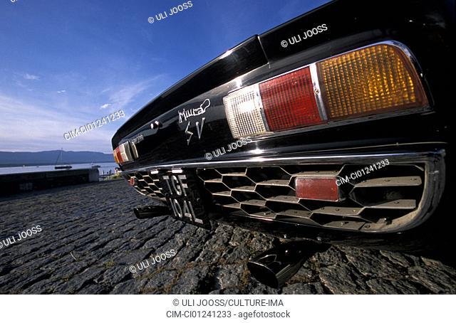 Car, Lamborghini Miura, vintage car, old car, black, 1970s, seventies, Coupé, Coupe, sports car, detail, details, backlight, bumper, fender, technics, technical
