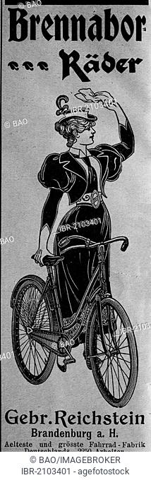 Advertisement for bicycles, published in the magazine Gartenlaube in 1890