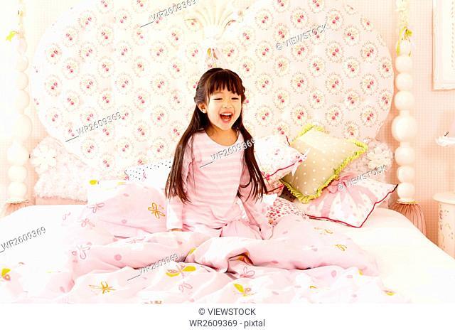 Cute little girl get up
