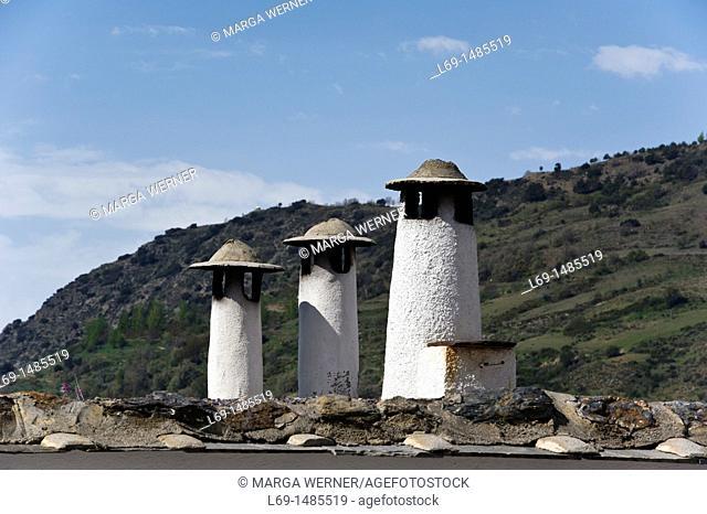 Typical chimneys in the village Capileira, Las Alpujarras, Sierra Nevada, Andalucia, Spain, Europe