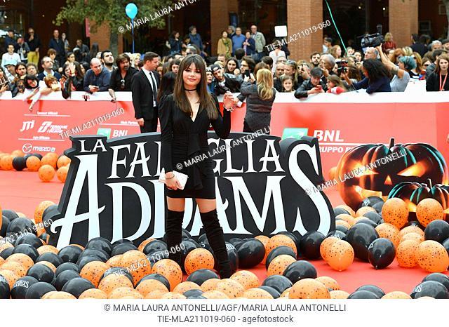 Eleonora Gaggero during the red carpet of cartoon ' La famiglia Addams ' at the 14th Rome Film Festival, Rome, ITALY-20-10-2019