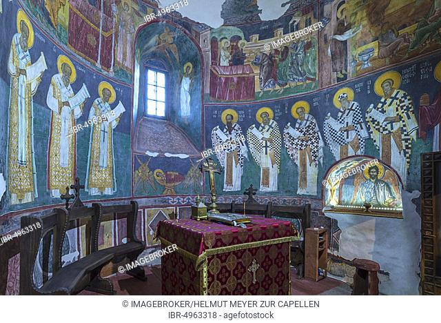 Prayer room in the Church of the Exaltation of the Cross, Patrauti Vltava Monastery from the 15th century, Patrauti, Romania, Europe