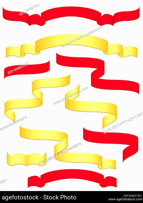 red and yellow banners isolated on white background vector illustration