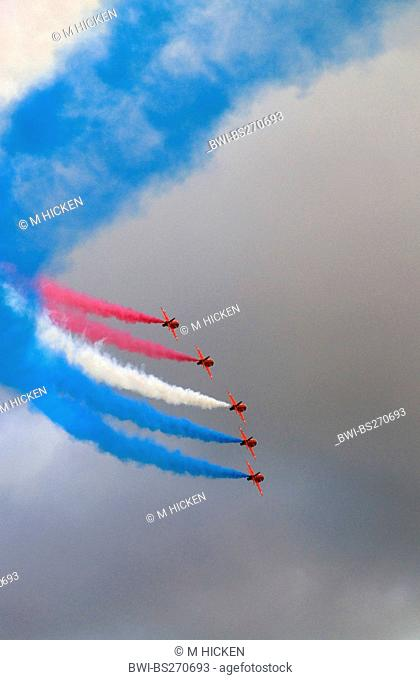 aerobatic squadron in the sky jetting smoke in the colours of the Union Jack, United Kingdom, Scotland