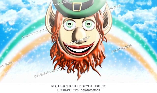 St Patrick's Day. Leprechaun With Green Hat Against Sky Background With Rainbow and Clouds 3D illustration