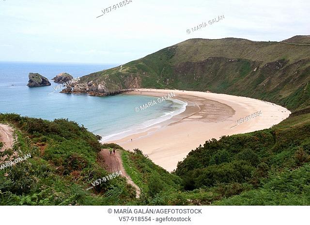 Torimbia beach, aerial view. Asturias province, Spain