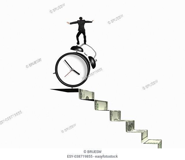 Businessman balancing alarm clock on top of money stairs, isolated on white