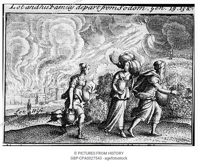 Israel / Palestine / Jordan: Lot and his family fleeing Sodom; Lot's wife is a pillar of salt in the background (Genesis 19, 15)