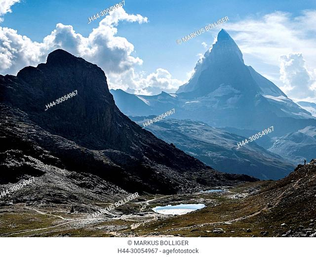 The Alps, mountain, mountains, mountain landscape, mountain lake, mountains, Hochgebirge, scenery, Matterhorn, Riffelsee, lake, Valais, clouds