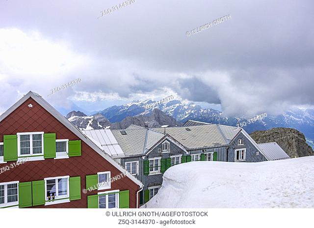 On the peak of Säntis Mountain, Appenzell Alps, Switzerland - mountain inn ALTER SÄNTIS. Auf dem Säntis in den Appenzeller Alpen