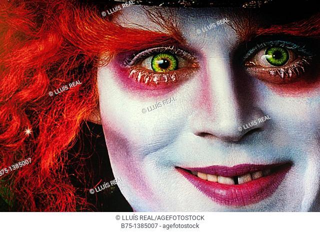 Tim Burton's Alice In Wonderland Movie billboard detail. London, January 2011