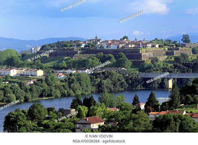 View of Minho River and Portuguese town of Valenca, Tui, Galicia, Spain