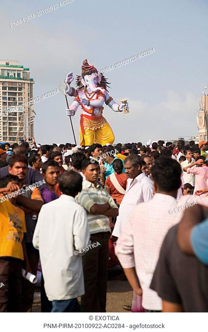 Idol of Lord Ganesha representing Lord Shiva at immersion ceremony, Mumbai, Maharashtra, India