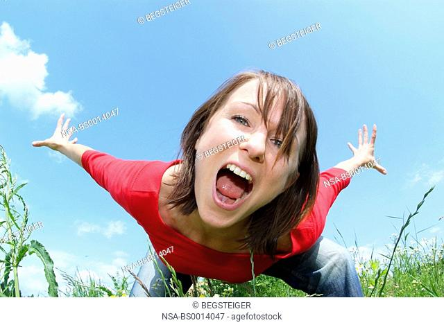 frolic woman in meadow