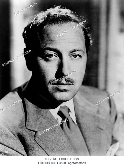 Tennessee Williams, playwright of 20th century American classics in 1952. His works include: The Glass Menagerie; A Streetcar Named Desire; Cat on a Hot Tin...
