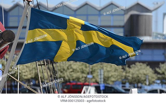 Swedish flag in storm
