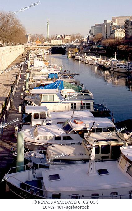 Arsenal port near the Bastille. Paris. France