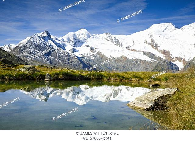 Allalinhorn, Alphubel and mountain lake, Switzerland