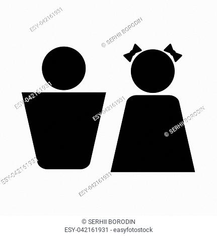 Boy and girl it is black icon . Flat style