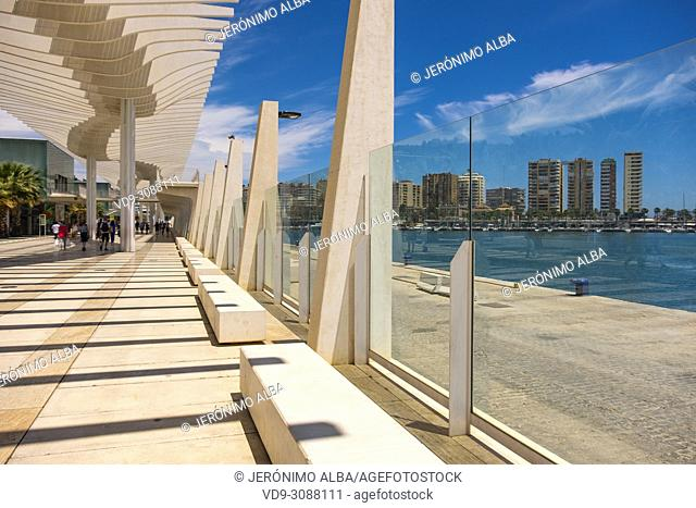 Muelle Uno. Dock One. Seaside promenade at port, Malaga city. Costa del Sol, Andalusia. Southern Spain Europe