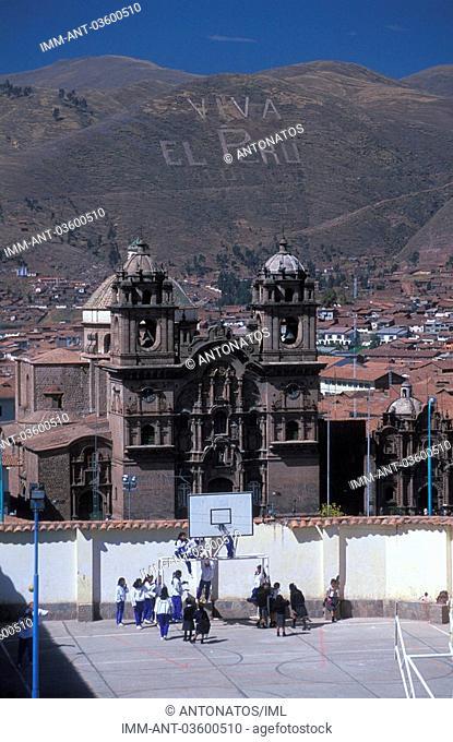 Cuzco, view of the school's yard, children playing , Peru, South America