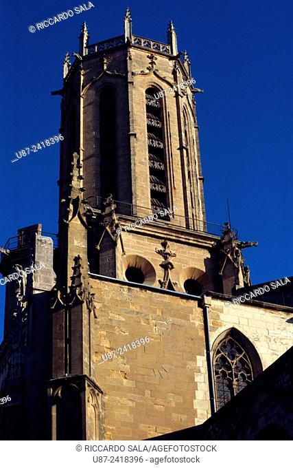 France, Bouches du Rhone, Aix en Provence, Cathedral St-Saveur, Belfry.
