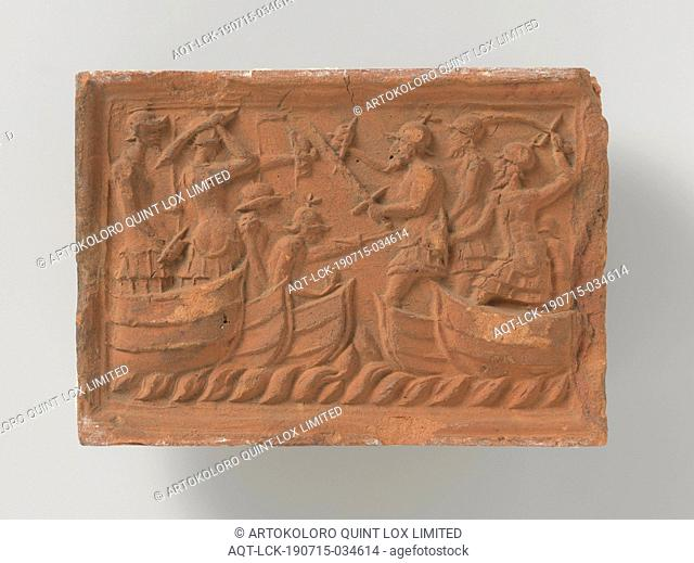 Sea Battle, Rectangular Fireplace with Sea Battle, on the left two sloops and three warriors, on the right three sloops and four warriors