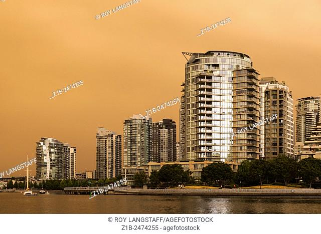 Vancouver under a blanket of smoke from numerous forest fires burning in the region