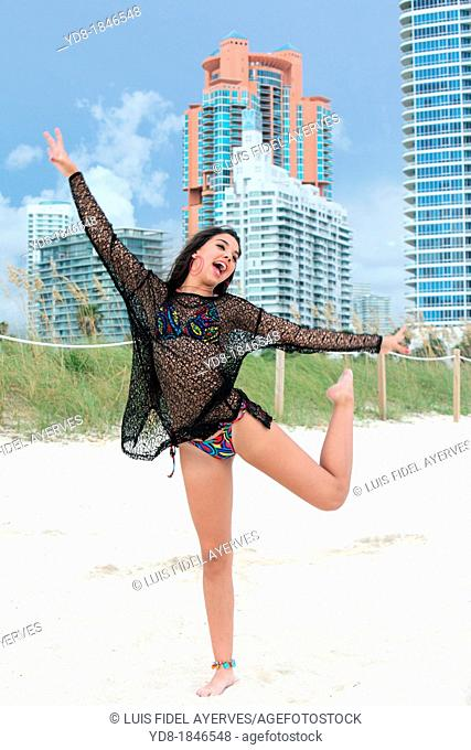 Young happy woman and smailing, Miami Beach, Florida, USA