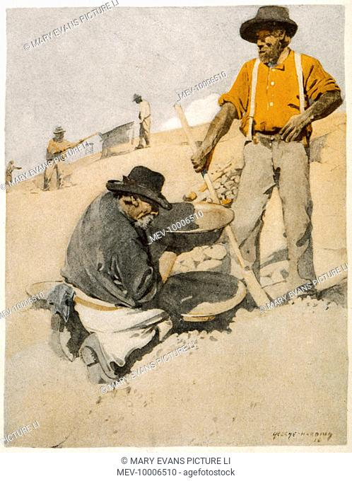 Prospectors panning for gold in Australia